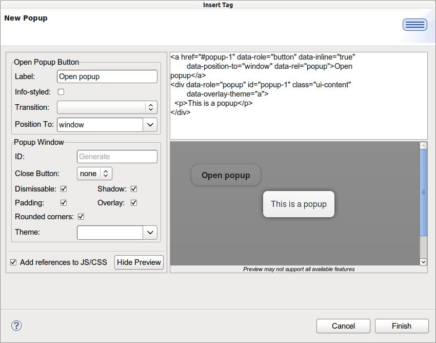 JBIDE-13886] New Popup wizard - JBoss Issue Tracker