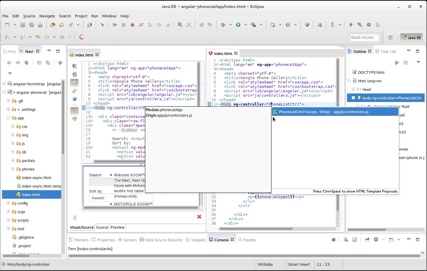 JBIDE-17676] Angular Code Assist doesn't work for angular phonecat