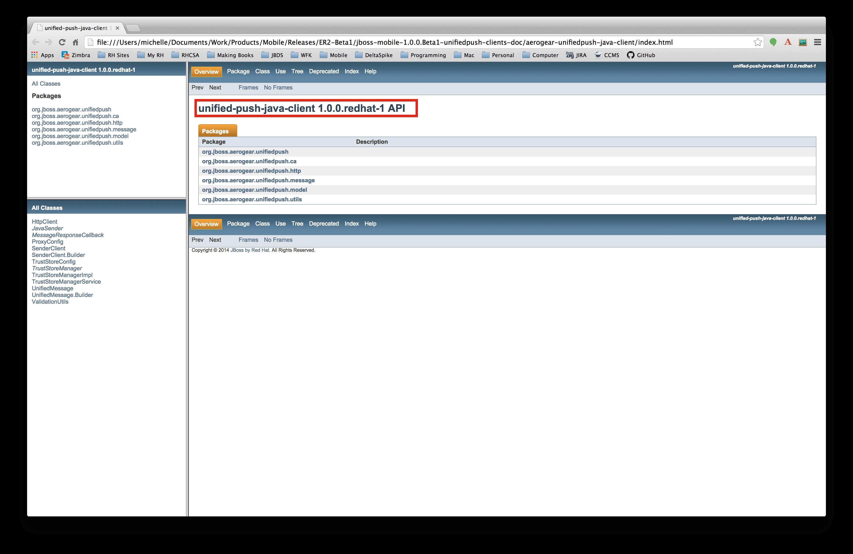 AEROGEAR-6127] Make titles of javadocs consistent - JBoss Issue Tracker