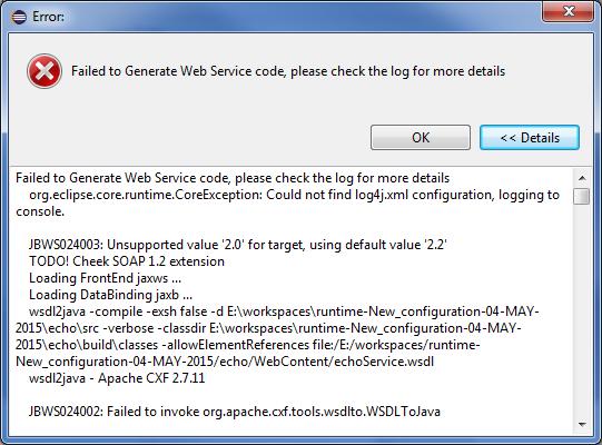 JBIDE-13414] No Error reported when WS Client code generation fails