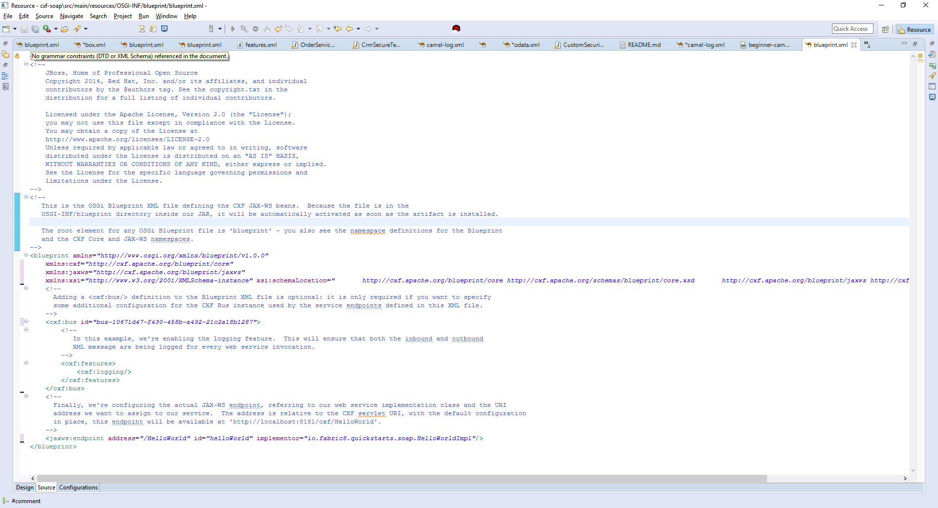 Entesb 6123 quickstartmissing xmlns for blueprint in cxf soap screenshot 1g malvernweather Choice Image