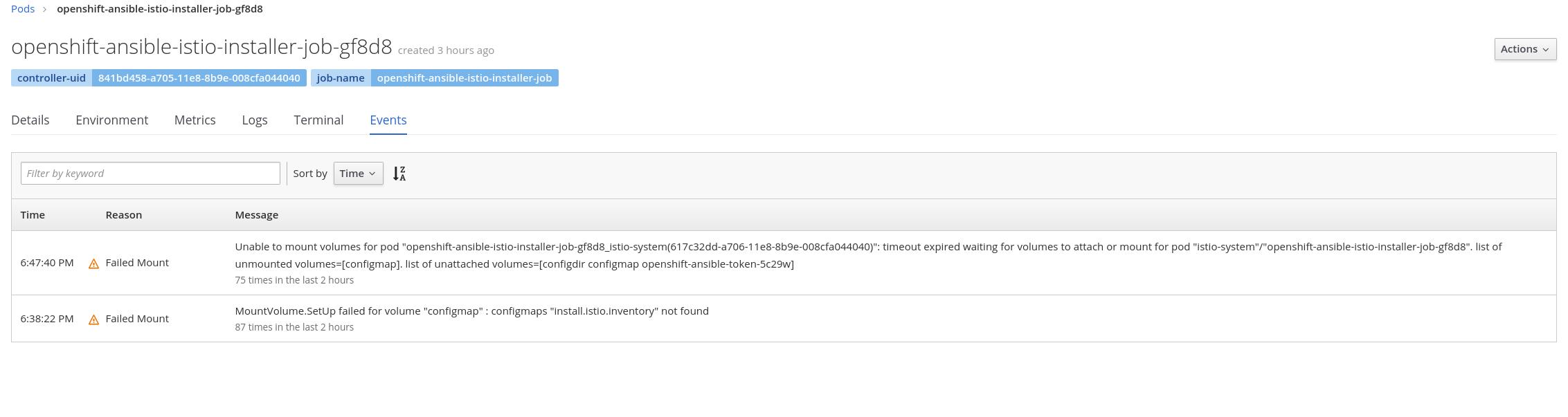 MAISTRA-5] openshift-ansible-istio-installer-job pod is not