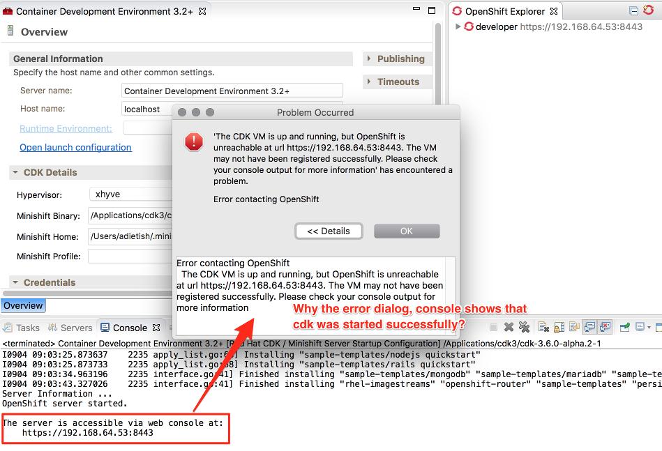Jbide 26333 Cdk Server Adapter Errror While Creating Openshift